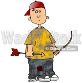 Clipart Illustration of a Poor And Hungry White Boy Wearing Patched Jeans Under A Yellow Shirt, Holding A Bow And Arrow While Shooting At Birds For Food © Dennis Cox #19404