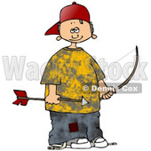 Clipart Illustration of a Little White Boy In A Yellow Shirt And Patched Jeans, Wearing A Red Hat And Holding An Arrow And Bow © Dennis Cox #19406