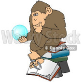 Clipart Illustration of a Wise Monkey In Thought, Rubbing His Chin And Sitting On Top Of A Stack Of Books While Gazing At A Crystal Ball Showing Him Glimpses Of What Is To Come © Dennis Cox #19515