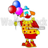 Clipart Illustration of a Colorful Party Clown In Red, Orange And Yellow, Holding Three Balloons © Dennis Cox #19518