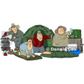 Clipart Illustration of a Happy Group Of Camping Buddy Guys Cooking And Napping While Enjoying A Wife Free Weekend © Dennis Cox #19519