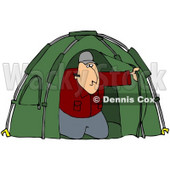 Clipart Illustration of a White Man Peeking Out From His Green Camping Tent © Dennis Cox #19521