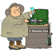 Clipart Illustration of a Happy Man Sniffing The Aroma Of Eggs While Cooking Breakfast On A Propane Camping Stove © Dennis Cox #19524