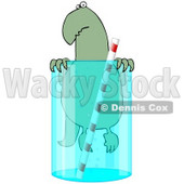 Clipart Illustration of a Cute Green Dinosaur Swimming In A Glass Of Water With A Straw © Dennis Cox #19525