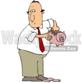 Clipart Illustration of a White Guy In A Business Suit, Taking Coins Out Of A Broken Piggy Bank To Collect Enough Money To Support A Bad Habit © djart #19532