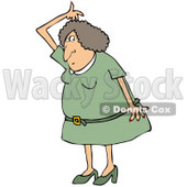 Clipart Illustration of a Stinky White Woman In A Green Dress And Heels, Lifting Her Arm Up Over Her Head And Sniffing Her Armpit For Odor © Dennis Cox #19533