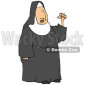 Clipart Illustration of a Frustrated Nun In Black And White Waving Her Fist In The Air While Arguing © Dennis Cox #19537