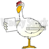 Clipart Illustration of a Slim White Chicken Holding Out A Blank White Sign © Dennis Cox #19610