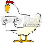 Clipart Illustration of a Chubby White Chicken Holding A Blank White Sign In Front Of Its Chest © Dennis Cox #19611