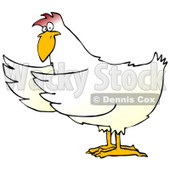 Clipart Illustration of a White Chicken Holding Its Wings Out To The Side As If Presenting Something © Dennis Cox #19612