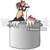Clipart Illustration of a Disguised Chicken Wearing A Hairy Nose And Glasses, Peeking Out Of A Stock Pot In A Kitchen © djart #19614
