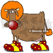 Clipart Illustration of a Goofy Brown Cow Dressed As A Clown, Wearing Big Red And Yellow Shoes, A Red Nose And An Orange Wig © djart #19616