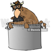 Clipart Illustration of a Disguised Brown Cow Wearing A Hairy Nose And Glasses, Peeking Out Of A Stock Pot In A Kitchen © Dennis Cox #19618