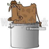 Clipart Illustration of a Confused Brown Cow Standing In A Giant Stock Pot © Dennis Cox #19619