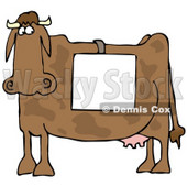 Clipart Illustration of a Big Brown Cow Standing In Profile, Wearing A Blank White Sign Over Its Back © Dennis Cox #19622