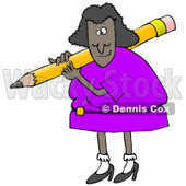 Clipart Illustration of a Black Lady in a Purple Dress, Carrying a Giant Yellow Pencil Over Her Shoulder © Dennis Cox #19696