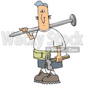 Clipart Illustration of a White Construction Worker Guy Carrying a Giant Nail Over His Shoulder and a Hammer in His Hand © Dennis Cox #19697