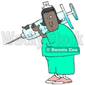 Clipart Illustration of a Black Female Nurse In Scrubs And A Hat, Carrying A Giant Needle And Syringe Over Her Shoulder While Preparing A Vaccine For A Hospital Patient © djart #19700