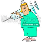 Clipart Illustration of a White Nurse Lady In Scrubs, Carrying A Giant Syringe Over Her Shoulder While Preparing A Vaccine For A Hospital Patient © djart #19701