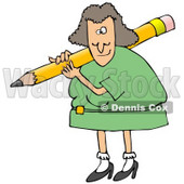 Clipart Illustration of a White Female Teacher In A Green Dress, Carrying A Giant Yellow Pencil On Her Shoulder, Grading Student Papers © Dennis Cox #19702