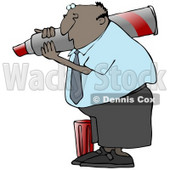 Clipart Illustration of a Black Business Guy Carrying A Big Red Marker On His Shoulder And Writing © Dennis Cox #19703