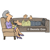 Clipart Illustration of a Patient Middle Aged Caucasian Woman, A Counselor, In A Purple Dress, Seated Cross Legged In A Chair While Listening To Her Client Vent About His Problems As He Lays On A Sofa In Her Office © djart #20021