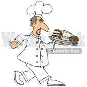 Clipart Illustration of a Male Chef In White, Carrying A Tray Of Desserts In A Bakery © djart #20304
