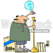 Clipart Illustration of a Middle Aged White Guy Putting A Huge 800 Watt Lightbulb In A Tall Lamp In His Living Room © Dennis Cox #20306