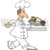 Clipart Illustration of a Happy White Male Chef In Uniform, Carrying A Tray Of Cake Slices and Cupcakes © djart #20307