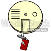 Clipart Illustration Of An Off White Smoke And Fire Alarm With A Red 9 Volt Battery Hanging Down, In Need Of A Replacement © Dennis Cox #20310