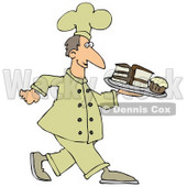 Clipart Illustration Of A Happy White Male Chef In A Yellow Hat And Uniform, Carrying A Cupcake And Slices Of Cake On A Tray In A Bakery © djart #20311