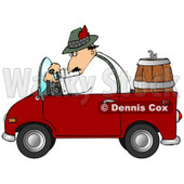 Clipart Illustration of a Man Driving A Red Compact Convertible Truck With A Beer Keg In The Back, Delivering Brew To An Oktoberfest Party © djart #20318