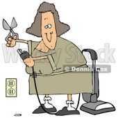 Clipart Illustration of a Lady Cutting The Ground Prong Off Of A Vacuum'e Electrical Plug In Chord In Order To Get It To Fit Into The Socket © Dennis Cox #20319