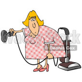 Clipart Illustration of a Blond House Keeper Trying To Figure Out How To Plugin A Vacuum Into A Weird Electrical Socket © djart #20321