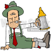Clipart Illustration of a Drunk Man At Oktoberfest, Seated On The Ground And Holding Up A Beer Stein © Dennis Cox #20801