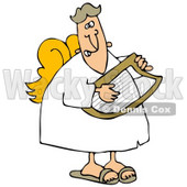 Clipart Illustration of a Grinning Male Angel In A White Robe And Yellow Wings, Playing A Lyre © Dennis Cox #20803