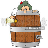 Clipart Illustration of a Drunk Oktoberfest Man In Costume, Leaning Over A Wooden Beer Keg Barrel And Holding A Stein © djart #20826