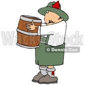 Clipart Illustration of an Oktoberfest Man In Costume, Carrying A Wooden Beer Keg Barrel © djart #20827