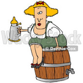 Clipart Illustration of a Tipsy Blond Oktoberfest Woman In Costume, Sitting On A Wooden Beer Keg Barrel And Drinking From A Stein © Dennis Cox #20828