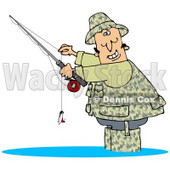 Clipart Illustration of a Happy Man Dressed In Camouflage Gear, Wading In Water And Holding His Fishing Pool While Smiling © djart #20829
