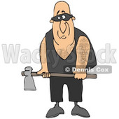 Clipart Illustration of a Nervous Male Executioner In Black, Wearing A Mask Over His Eyes And Holding An Axe © djart #20830