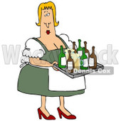 Clipart Illustration of a Curvy Blond Oktoberfest Beer Maiden Woman Serving Beer In Mugs And Bottles © Dennis Cox #20868