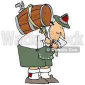 Clipart Illustration of a Strong Oktoberfest Man In Costume, Carrying A Heavy Wooden Beer Barrel Keg On His Back © djart #20870
