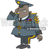 Royalty-Free (RF) Clipart Illustration of a Black Army Man Saluting © Dennis Cox #209418
