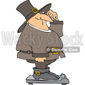 Royalty-Free (RF) Clipart Illustration of an Overweight Pilgrim Man Standing Confused On A Scale © djart #209481