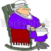 Royalty-Free (RF) Clipart Illustration of a Relaxed Old Woman Sitting In A Rocking Chair © djart #209482