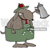 Clipart Illustration of a Partying Dog Drinking A Beer From A Setin At Oktoberfest © Dennis Cox #20957