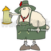Clipart Illustration of a White Sheep Getting Drunk With A Beer Stein At Oktoberfes © djart #20959