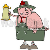 Clipart Illustration of a Drunk Pink Pig Drinking A Beer From A Setin At Oktoberfest © Dennis Cox #20960
