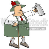Clipart Illustration of a Drunk Old Senior Man Walking With A Cane And Partying With A Beer Stein At Oktoberfest © djart #20961